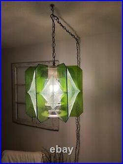 Vintage MCM Pendant Light Swag Lamp Nylon String Art Green Acrylic
