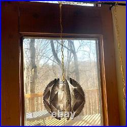 Vintage Mid Century Modern Pendant Light Swag Lamp Nylon String Art Black Resin