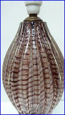 Vintage Murano Art Glass Spiral Ribbon Cased Lamp Base