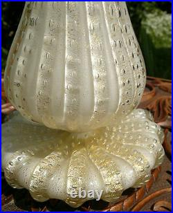 Vintage Murano Bullicante Art Glass Table Lamp Clear, White with Gold Aventurine