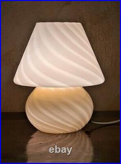 Vintage Murano Vetri Italian Glass Mushroom Lamp Pink Swirl Art Glass