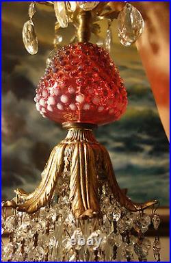 Vintage Octopus Insp. Crystal Lamp Chandelier Fenton Cranberry Hobnail Art Glass