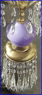 Vintage Purple amethyst Murano Art Glass Swag lamp brass crystal prisms pendant