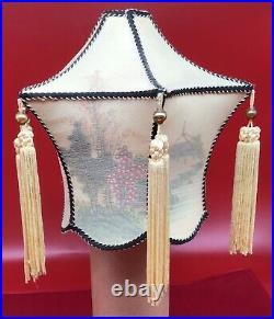 Vintage REVERSE PAINTED lamp shade silk tassels rare 6 sided lantern art Asian