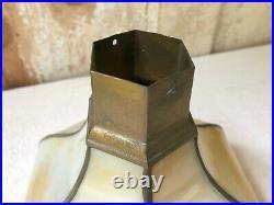 Vintage Set Arts & Craft Mission Slag Glass Chandelier Lamp Light Fixture Shades
