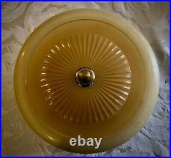 Vintage antique Beige Glass Ceiling Light Lamp Fixture Chandelier Art Deco