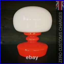 Vintage retro pop art orange white opaline glass table lamp by Stefan Tabery