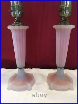 Vtg 30s Art Deco Boudoir Bed Side Table Nightstand Glass Lamps Rose Pink Pair