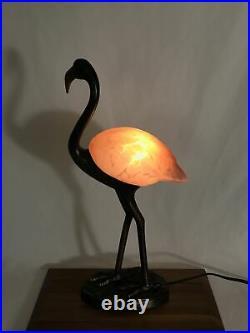 Vtg Flamingo Table Lamp Pink Art Glass Bird Brass Bronze Tone 18 Night Light
