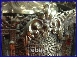 Vtg Gold Metal Filigree Moroccan Boho Asian Jeweled Hanging Swag Lamp Light Art