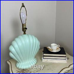 Vtg Seashell Motif Lamp Sea Foam Green Post Modern 80s Art Deco Revival Memphis