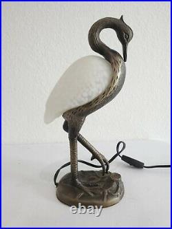 Vtg Table Lamp Pink Art Glass Bird Brass Bronze Tone 14 Night Light