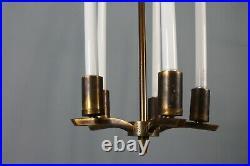 XL German Vintage Brass Art Deco Bauhaus Kaiser Neon Chandelier Lamp 30's 40's